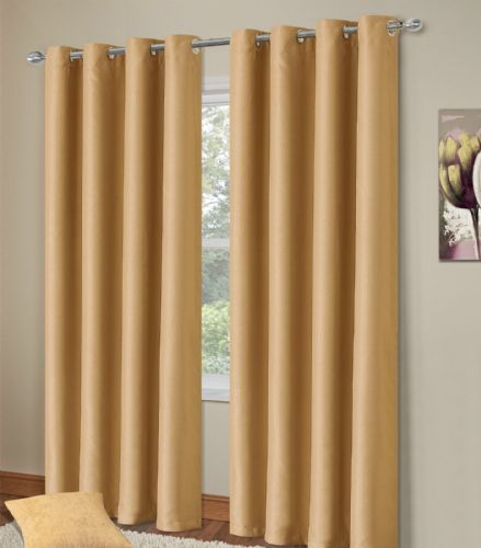 PLAIN STONE BEIGE COLOUR THERMAL BLACKOUT BEDROOM LIVINGROOM READYMADE CURTAINS RINGTOP EYELETS